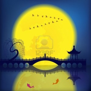 15114851-oriental-ancient-scenery-arch-bridge-pavilion-willow-fish-and-moon