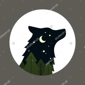 stock-vector-flat-vector-cartoon-style-wolf-head-silhouette-inside-a-circle-night-forest-landscape-with-moon-279915950