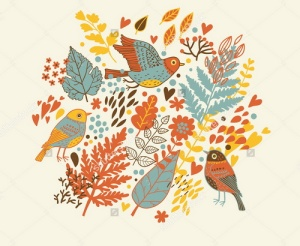 stock-vector-floral-cartoon-background-stylish-vintage-leafs-and-birds-96326162